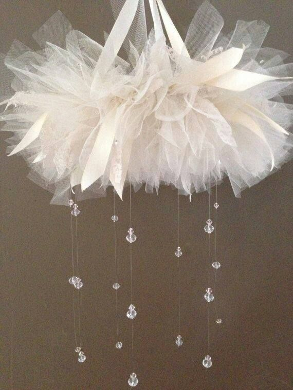 This looks like a SUPER easy project that would be adorable as a mobile in a girl's nursery! You could even take out the lace and ribbon and replace the crystals with paper raindrops and it would be more gender neutral!