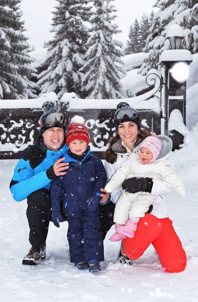 The Duke and Duchess of Cambridge posed for an adorable family photo in the snow with Prince George and Princess Charlotte during their vacation to the French Alps in March 2016.