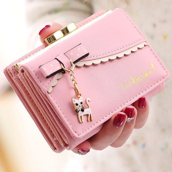 Women Bow Tie Kitty Bright PU Leather Short Wallet Card Holder Purse  women  bags fashion