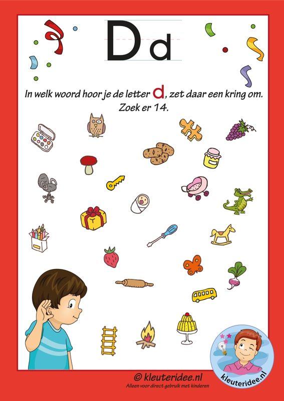 Pakket over de letter d blad 8, in welk woord hoor je een d, letters aanbieden aan kleuters, kleuteridee.nl, free printable.