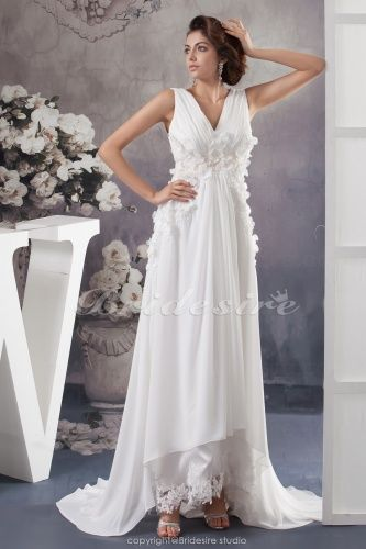 A-line V-neck Court Train Sleeveless Chiffon Wedding Dress - $158.99