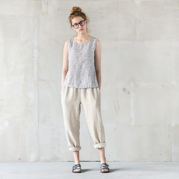 Natural linen pants / Washed women linen by notPERFECTLINEN