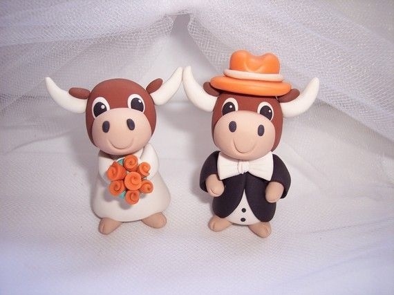 How Cute is this!    Texas Longhorn Wedding Cake Toppers by The Pink Koala Wedding Design Studio.