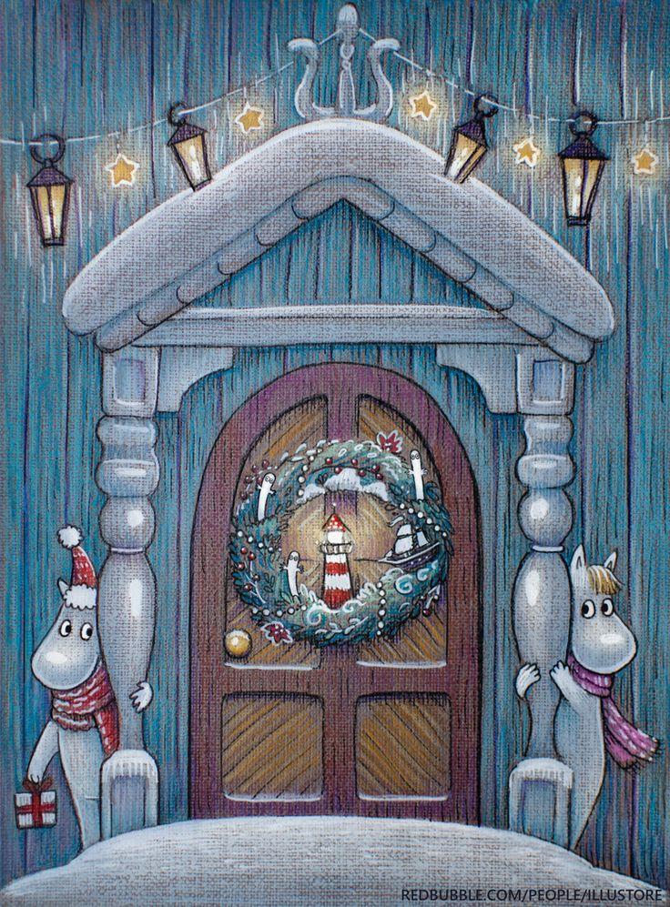 illustration, fantasy, christmas, новый год, рождество, муми-тролли, муми-тролль, фрэкен снорк, волшебство, moomin