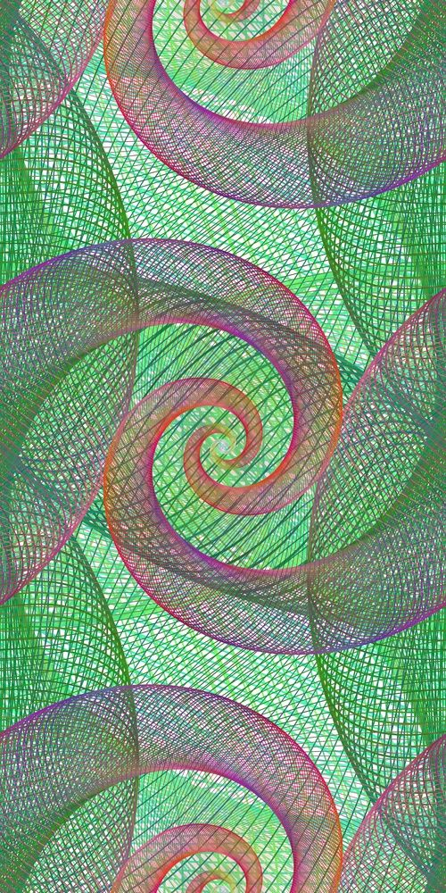 Computer generated repeating wired spiral pattern background