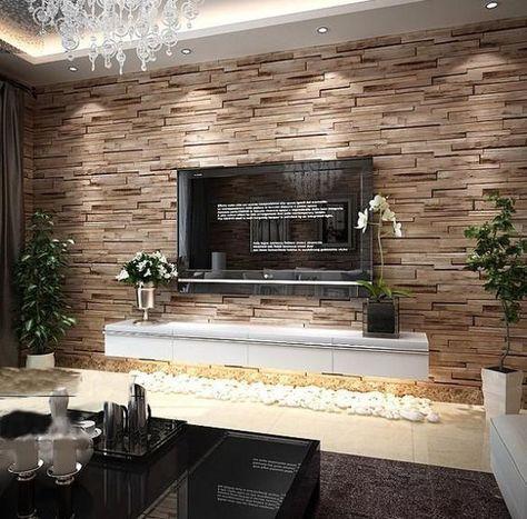 Decorare la parete tv con le pietre 20 idee casa for Parete attrezzata in muratura