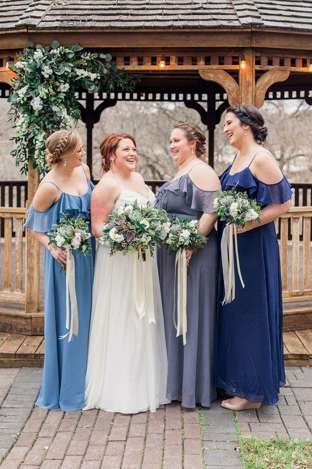 338799986b Blue long mismatched bridesmaid dresses with cold shoulder detail. bridal  party succulent bouquets - Holly Marie Photography #bridesmaids #bride  #bridetobe ...