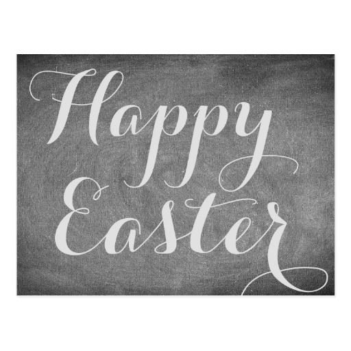 Happy Easter #BlackWhite #Chalkboard Look Typography #Easter #Card