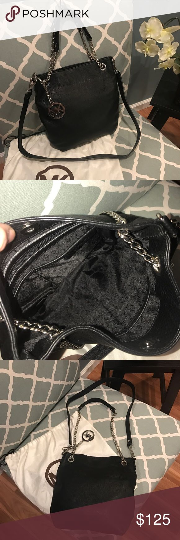Michael kors black leather bag price dropped!!! Black mk purse can be crossbody or shoulder or carry. This bag is gorgeous soft leather... it's in excellent condition. Small spot but seriously unrecognizable. The interior is flawless ... this was very well taken care of. Just lowered price ... 3 days only!!!!! MICHAEL Michael Kors Bags