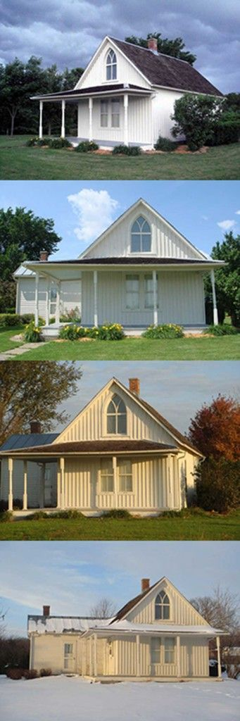 The American Gothic House in Eldon, Iowa is famous as the backdrop of Grant Wood's 1930 painting American Gothic.