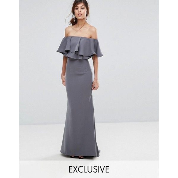 Jarlo Off Shoulder Maxi Dress With Frill Top (185 CAD) ❤ liked on Polyvore featuring dresses, grey, vintage tea dress, off shoulder maxi dress, shift dresses, off-the-shoulder ruffle dresses and retro dresses
