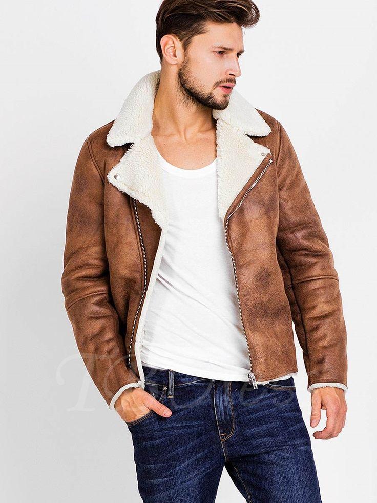 Lapel Faux Shearling Zipper Slim Men's Biker Jacket with Side Pockets