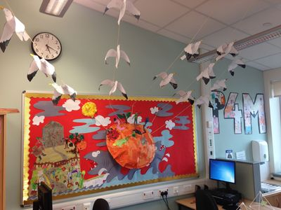 James and the Giant Peach storyline wall display from my classroom. Creating it was great fun and the children enjoyed watching it evolve as the story developed. Arriving in the morning to find their seagulls hanging from the roof was a particular highlight.