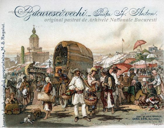 St. Anton Market- Bucharest.    The first market in town, the so-called St. Anton Market (or the 'Pazar'; the name derived from the 'bazaar'),  used to lie on part of Manuc's Inn and on the open area between the Old Court Church and Nicolae Bălcescu Avenue nowadays.