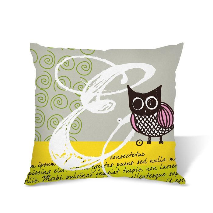 Baykuşlu Gri Yastık