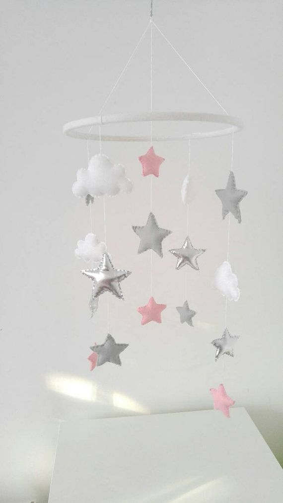 Stars And Clouds Nursery Mobile Baby Pink Grey Silver Mobiler