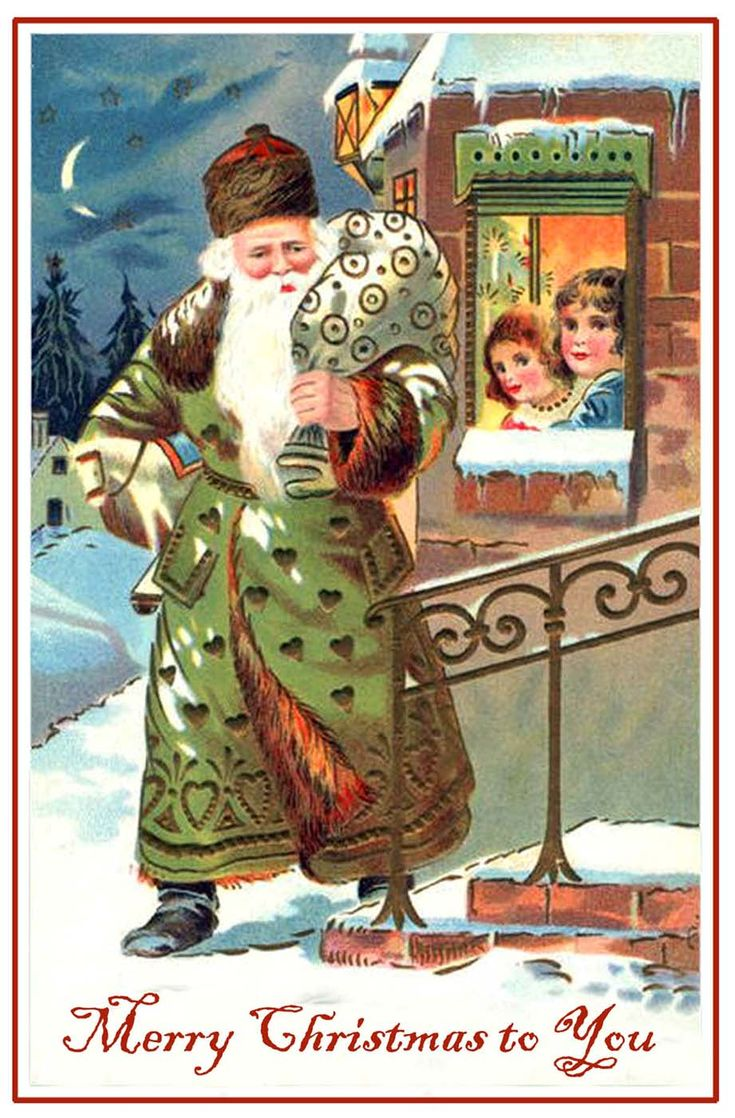 Free printable vintage christmas cards - Christmas Post Card Of A Green Clad Santa Claus With Children Looking At Him Through A Free Printable Christmas Cardschristmas