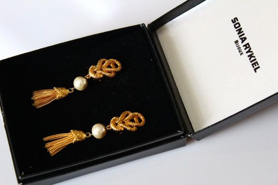 Fabulous Signed Sonia Rykiel Long Tassel   earrings  by Jewelrin  #Sonia_Rykiel_Earrings #Vintage#Rykiel_Pearl_Jewelry