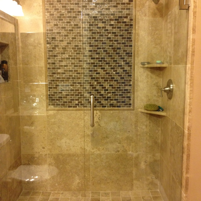 shower remodel with glass block focal feature on the wall