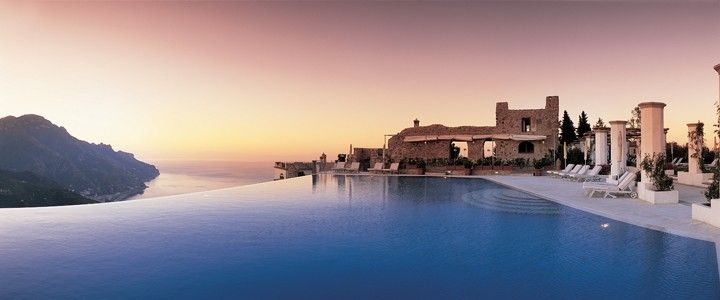 Hotel Caruso, Ravello, Italy    A former 11th century palace set on cliffs beside the Amalfi Coast.