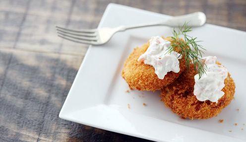 Fish Cakes with Smoked Salmon Mayonnaise