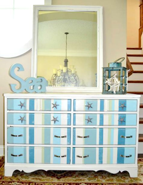 Dresser painted with beachy blue stripes: http://www.completely-coastal.com/2014/06/coastal-nautical-furniture-makeover-wicker-chair-table-dresser.html
