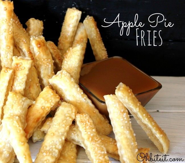 "Perfectly flaky, pretty little, sweet sticks of portable Apple Pie. Sweet Apple Pie Filling is the glue that lovingly holds the two flaky layers of Pie Crust together, all baked into tons of perfectly puffed, ""Fries"" of happiness!"