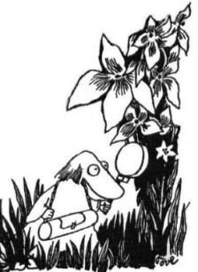 Hemulen tries to find new flowers by tove jansson