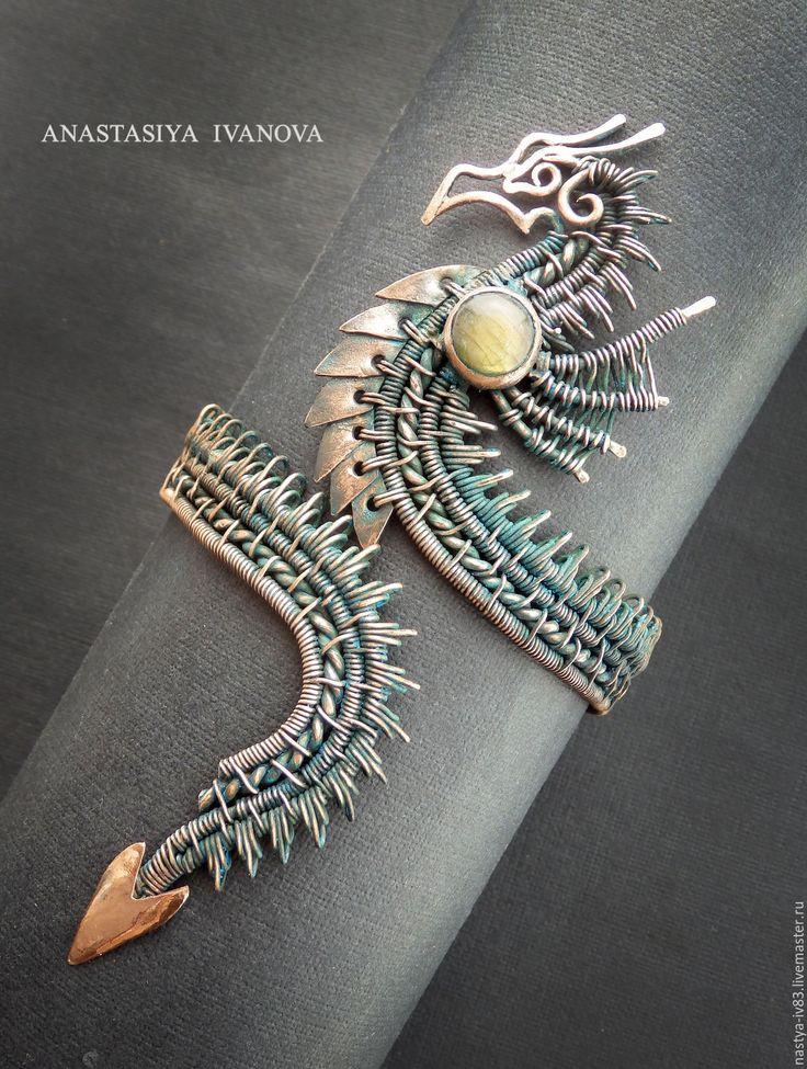 Купить ДраконRES - зеленый, дракон, медный браслет, дракон-браслет, медный дракон, украшения