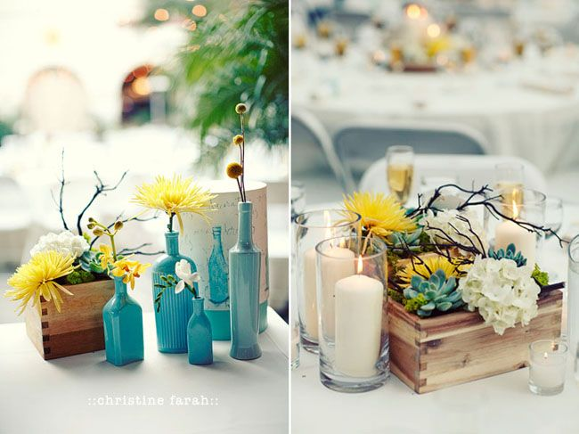 Look At This Whole Wedding Aqua And Yellow With Grey White