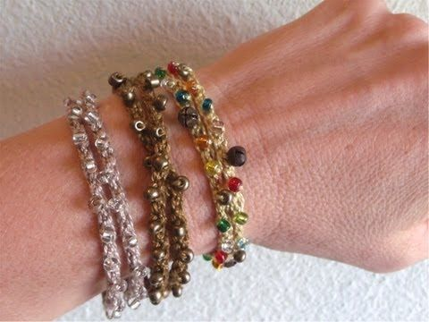 How to crochet a beaded bracelet or wrist band - YouTube