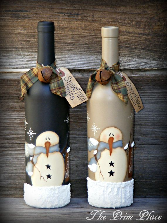 Primitive Handpainted Snowman Wine Bottle Snowman por theprimplace