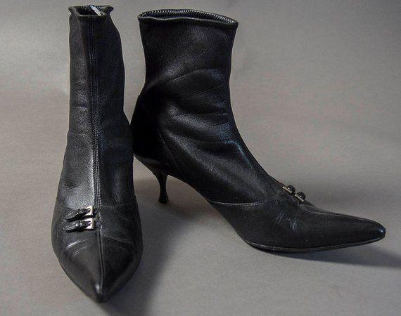 Vintage 1990s Prada 50s Style Ladies Ankle Boots Retro 90s Prada