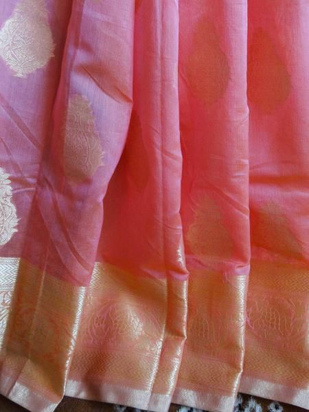 Banarasee/Banarasee Pure Handloom Silk Cotton Saree-Peach
