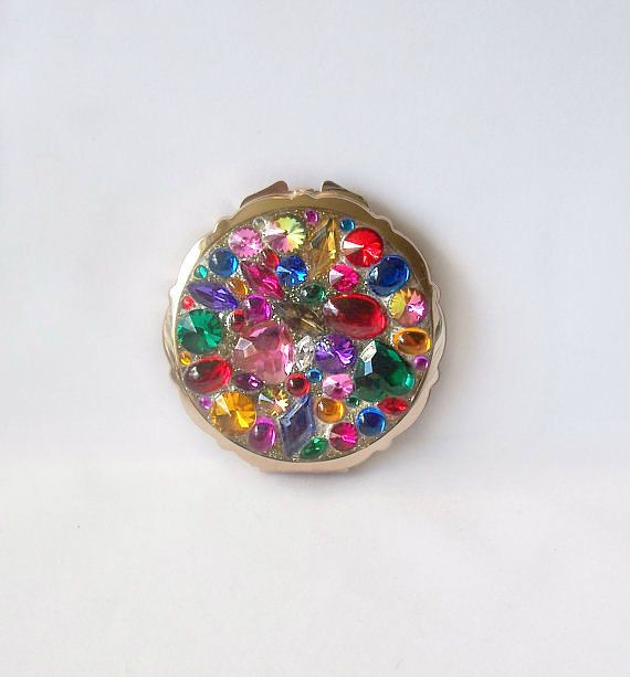 Vintage Multi Colored 'Jeweled' Mirror Compact Made in Japan Gold tone