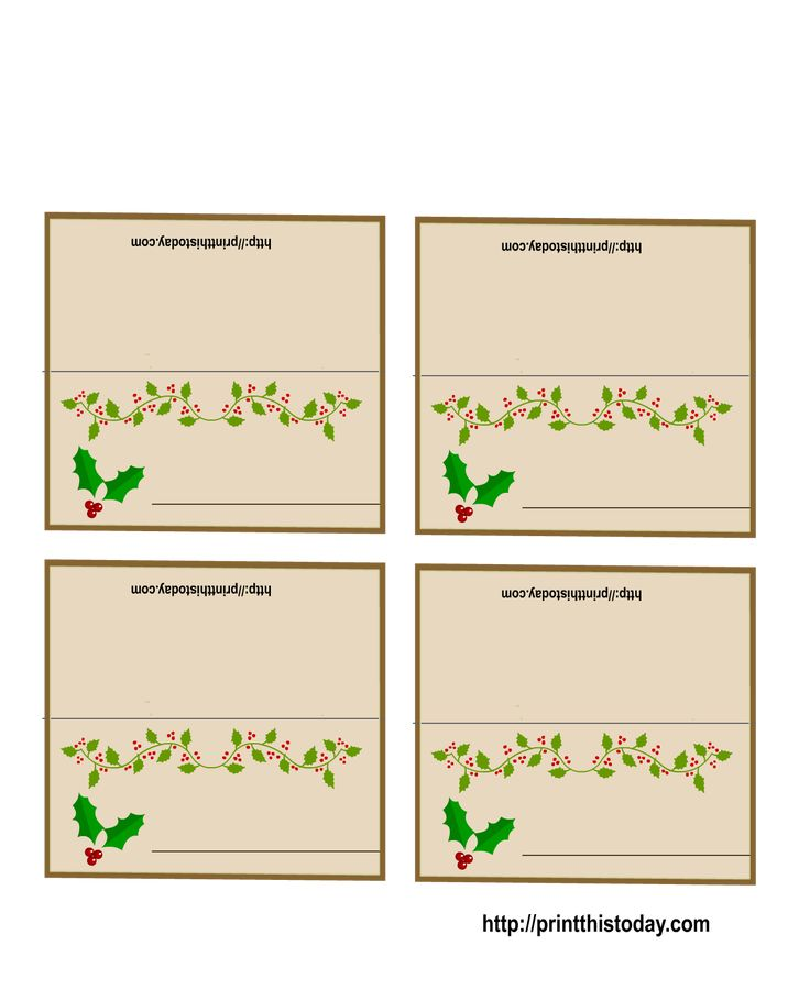 It is a photo of Printable Christmas Place Cards with regard to full page