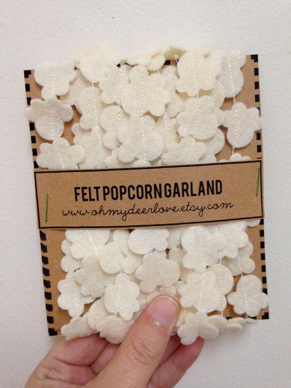Felt Popcorn Garland on Etsy, $8.00 - for playroom christmas decor