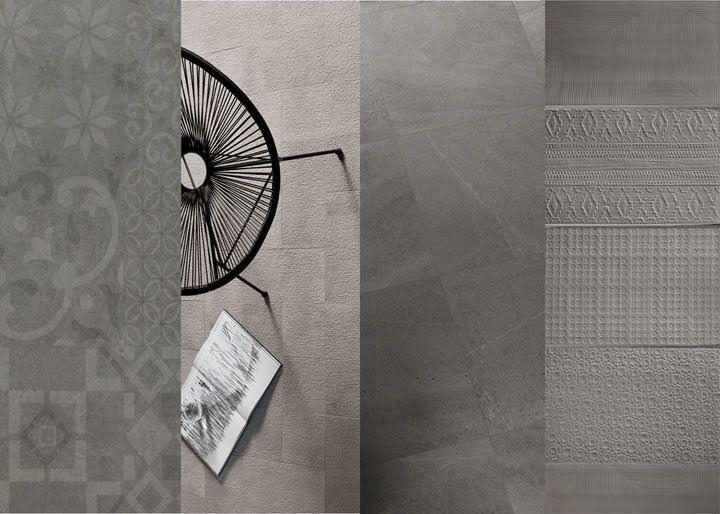 Top 10 Tile Trends.GREYSCALE - L-R Sintesi Planet, Brix Brush, Cotto d'Este Limestone, 41zero42 Signs