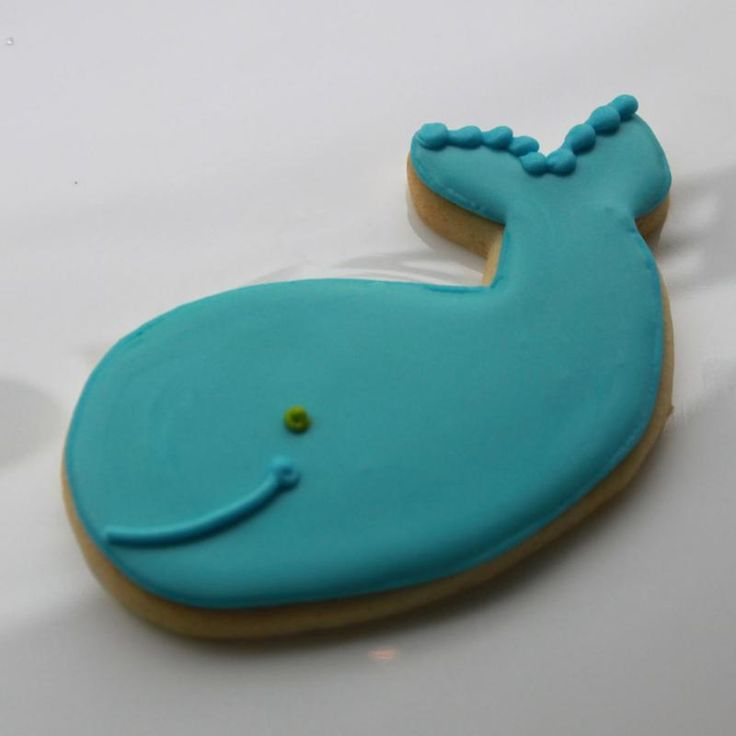 Whale sugar cookies. I used a fish cookie cutter and reshaped it into a whale. Worked great!  Iced them dark & light blue. They were a sweet treat at a baby shower! B