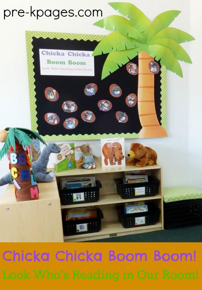 Chicka Boom Boom Bulletin Board for Classroom Library in Preschool or Kindergarten