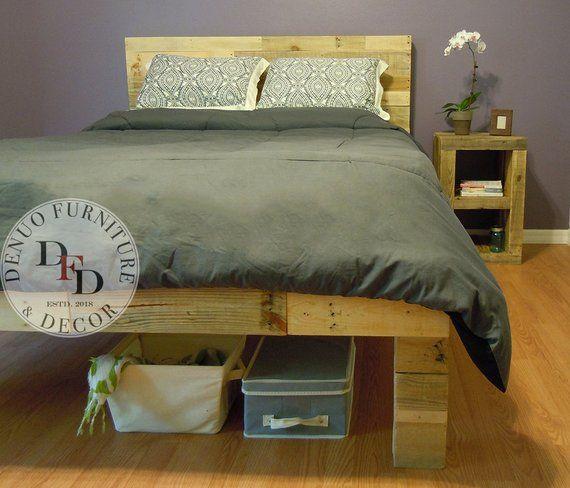 Queen Bed Frame Pallet Bed Reclaimed Wood Bed Frame Diy Pallet