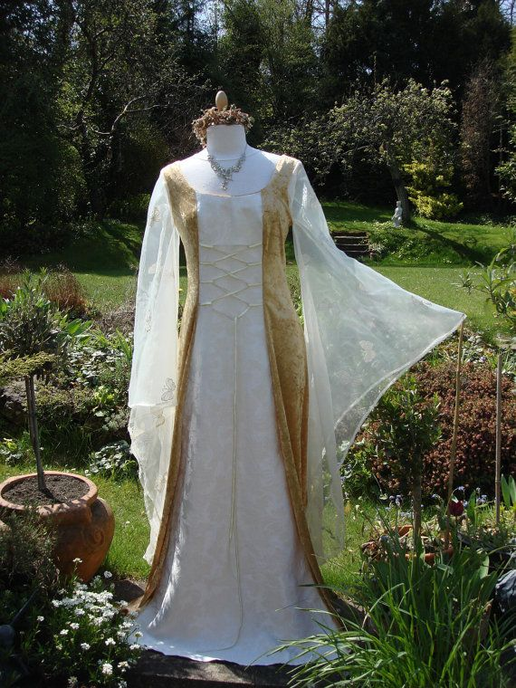 Bespoke Fairy Gold Eowyn Lord Of The Rings Celtic Medieval Renaissance Pagan Handfasting Wedding Gown
