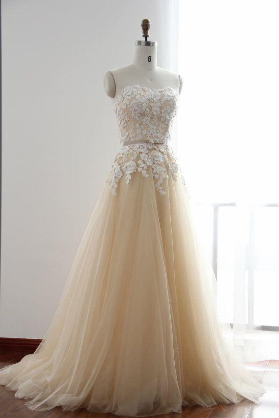 Champagne Wedding Dresses A Line : A line flower lace champagne wedding dress by