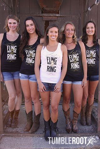 Last Fling Before the Ring bachelorette party tank tops! Available at TumbleRoot's sister store // bachette.com