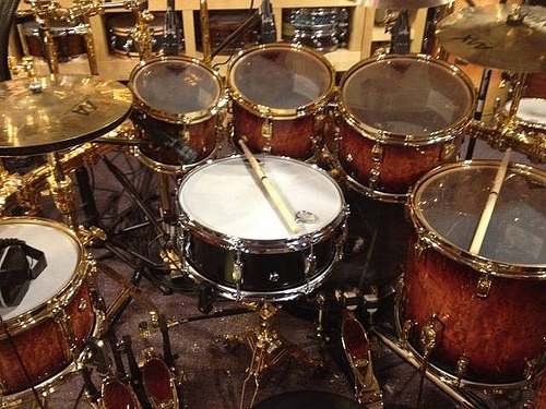 todd sucherman with the beier 1 5 steel snare 5 5 x 14 behind his kit in his drum room. Black Bedroom Furniture Sets. Home Design Ideas