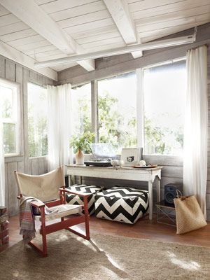 Small Cabin Decorating Ideas - Rustic Cabin Decor - Country Living: Decor Ideas, Poufs, Sunrooms, Country Living, Porches, Rustic Cabins Decor, Small Cabins, West Elm, Sun Rooms