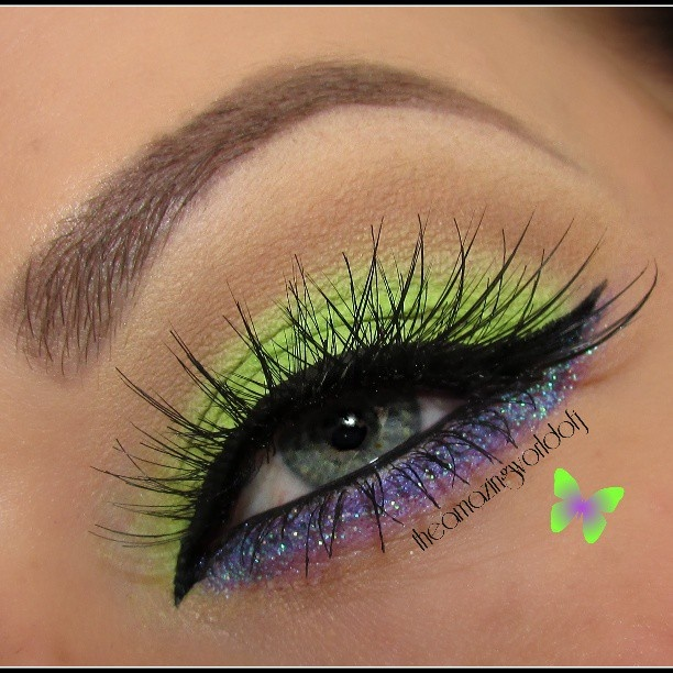 Neon Green shadow with purple glitter liner