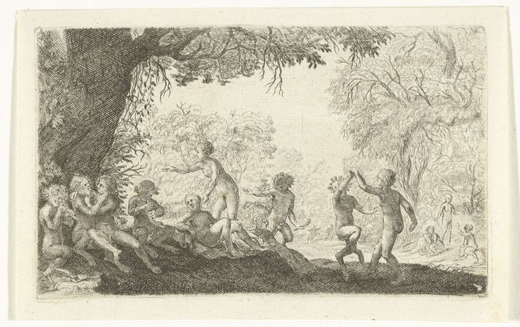 Willem Basse | Feestende saters en bosnimfen bij een open plek in het bos, Willem Basse, 1633 - 1672 | Bacchanalia met feestende saters en bosnimfen bij een open plek in het bos. Rechts een dansend stel.