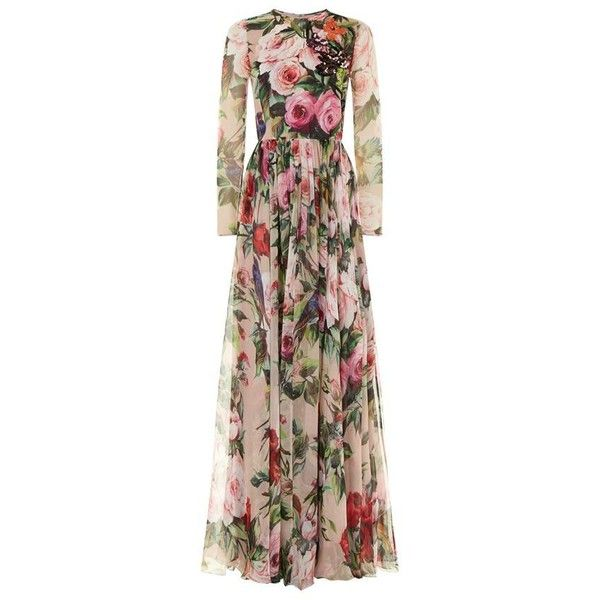 Dolce & Gabbana Sequin and Rose Print Gown (9 360 AUD) ❤ liked on Polyvore featuring dresses, gowns, floral evening gown, floral evening dress, sequin evening gowns, floral summer dresses and floral ball gown