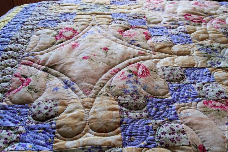 Купить Лоскутное стеганое одеяло Французская ривьера Шеби кремовый - плед, лоскутный плед